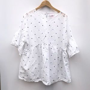 Isabel white cotton polka dot blouse